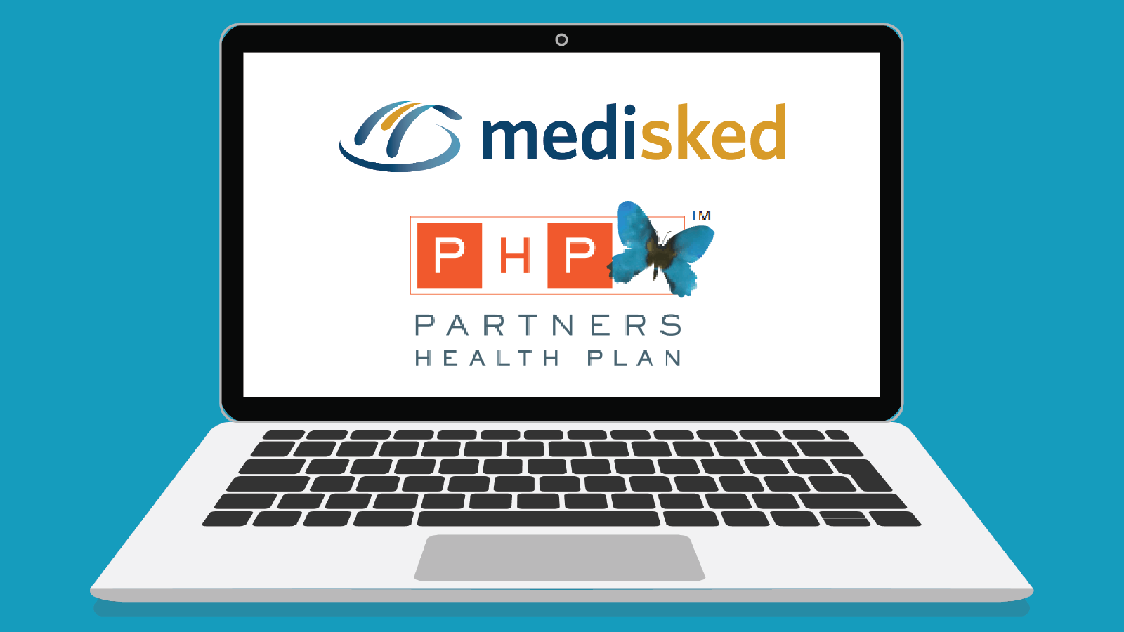 Illustration of a laptop with the logos for MediSked and Partners Health Plan on the screen.