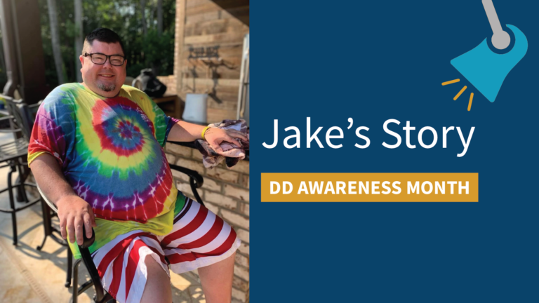 """An image of an individual next to the words """"Jake's Story"""" and a banner that says """"DD Awareness Month"""", with a spotlight graphic shining down on the words."""